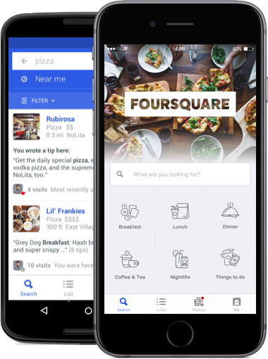 Foursquare for iOS, Android, and Windows Phone